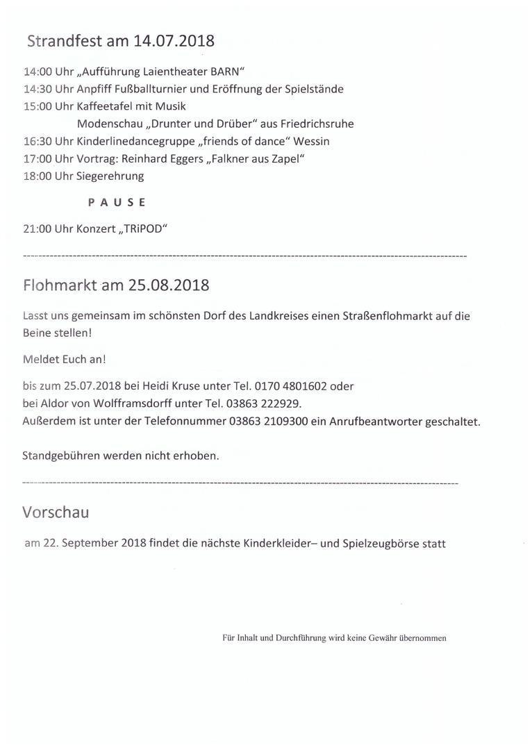 Kulturverein Barnin e. V. - Monatspläne 2018